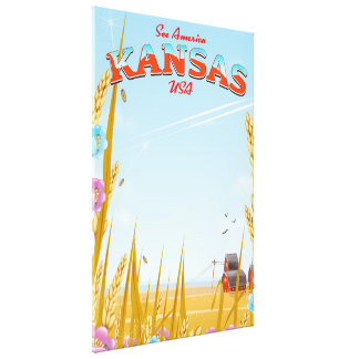 Kansas USA Farm retro Travel poster Canvas Print