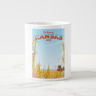 Kansas USA Farm retro Travel poster Large Coffee Mug