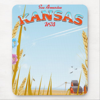 Kansas USA Farm retro Travel poster Mouse Pad