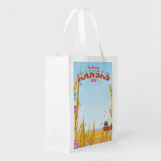Kansas USA Farm retro Travel poster Reusable Grocery Bag