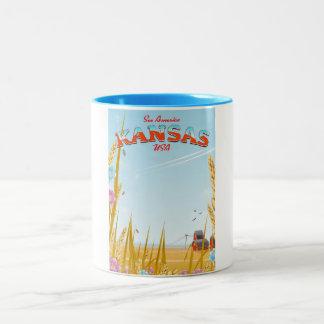 Kansas USA Farm retro Travel poster Two-Tone Coffee Mug