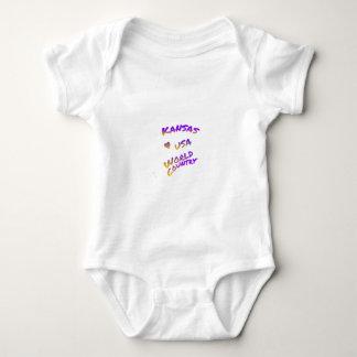 Kansas USA world country,  colorful text art Baby Bodysuit