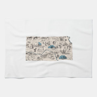 Kansas Vintage Picture Map Kitchen Towel