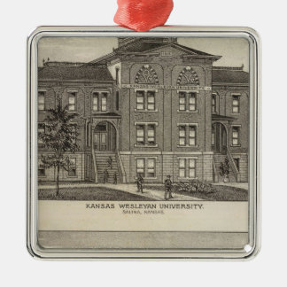 Kansas Wesleyan University Silver-Colored Square Ornament
