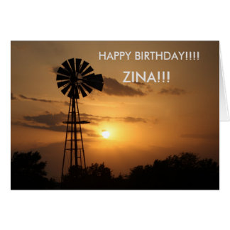 Kansas Windmill Sunset Birthday CARD