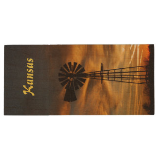 Kansas Windmill Sunset Flash Drive Wood USB 2.0 Flash Drive