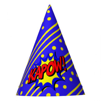 Kapow Pop Art Cartoon Superpower Birthday Hat