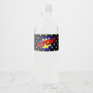 Kapow Pop Art Superpower Water Bottle Label