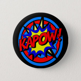 Kapow Superhero Cartoon Button