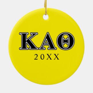 Kappa Alpha Theta Black Letters Round Ceramic Ornament