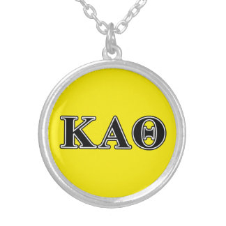 Kappa Alpha Theta Black Letters Silver Plated Necklace