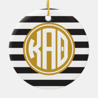 Kappa Alpha Theta   Monogram Stripe Pattern Ceramic Ornament