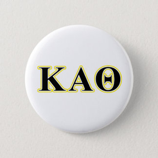 Kappa Alpha Theta Yellow and Black Letters 2 Inch Round Button