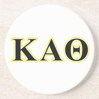 Kappa Alpha Theta Yellow and Black Letters Coaster