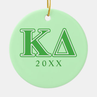 Kappa Delta Green Letters Round Ceramic Ornament