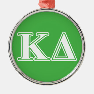 Kappa Delta White Letters Silver-Colored Round Ornament