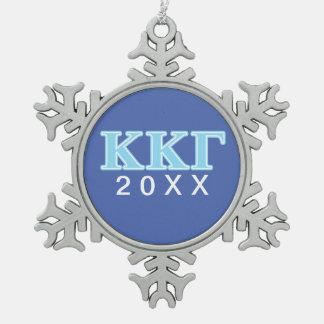 Kappa Kappa Gamma Baby Blue Letters Snowflake Pewter Christmas Ornament