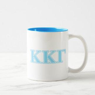 Kappa Kappa Gamma Baby Blue Letters Two-Tone Coffee Mug