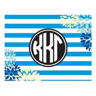 Kappa Kappa Gamma   Monogram Stripe Pattern Postcard