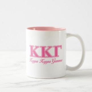 Kappa Kappa Gamma Pink Letters Two-Tone Coffee Mug