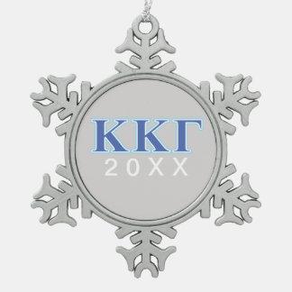 Kappa Kappa Gamma Royal Blue and Baby Blue Letters Snowflake Pewter Christmas Ornament
