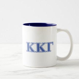 Kappa Kappa Gamma Royal Blue Letters Two-Tone Coffee Mug