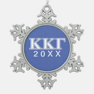 Kappa Kappa Gamma White and Royal Blue Letters Snowflake Pewter Christmas Ornament
