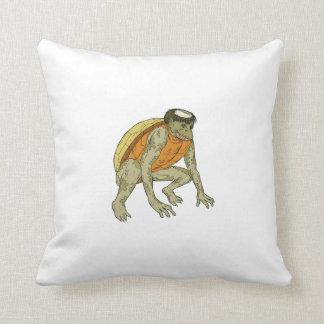 Kappa Monster Crouching Drawing Throw Pillow