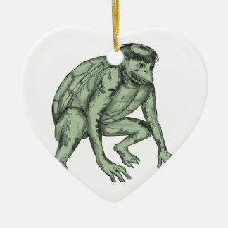 Kappa Monster Crouching Tattoo Ceramic Heart Ornament