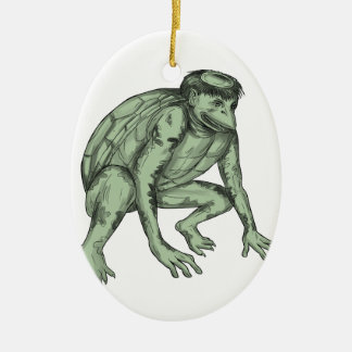 Kappa Monster Crouching Tattoo Ceramic Oval Ornament