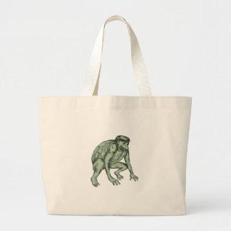 Kappa Monster Crouching Tattoo Large Tote Bag