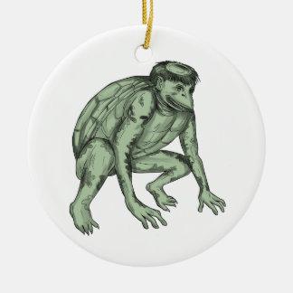 Kappa Monster Crouching Tattoo Round Ceramic Ornament