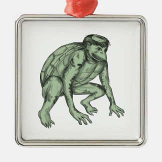 Kappa Monster Crouching Tattoo Silver-Colored Square Ornament
