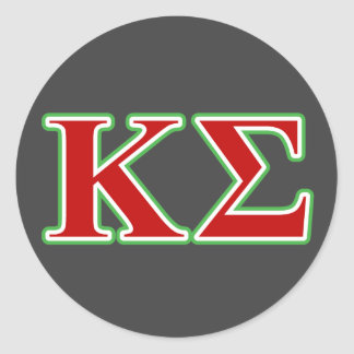 Kappa Sigma Red and Green Letters Classic Round Sticker