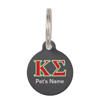 Kappa Sigma Red and Green Letters Pet Name Tag