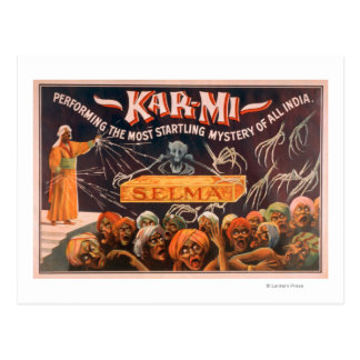 """Kar-mi """"The Most Startling Mystery of All India"""" Postcard"""