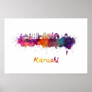 Karachi skyline in watercolor poster