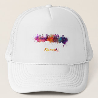 Karachi skyline in watercolor trucker hat
