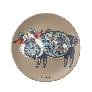 Karakoko 21.6cm Yak Porcelain Plate Cappuccino
