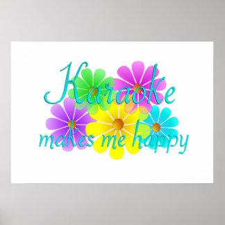 Karaoke Happiness Flowers Poster
