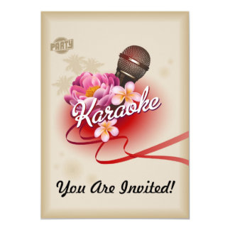 Karaoke Party Invitation Microphone Sing Song Card