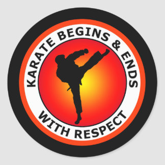 KARATE BEGINS AND ENDS WITH RESPECT CLASSIC ROUND STICKER