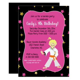 Karate Birthday Invitations Orange Belt Girl