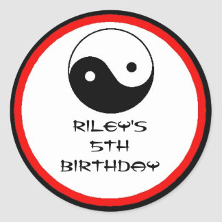 Karate Birthday Party Favor Labels Round Sticker