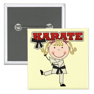 KARATE - Blond Girl T-shirts and Gifts Buttons