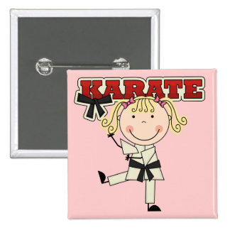 KARATE - Blond Girl T-shirts and Gifts Button