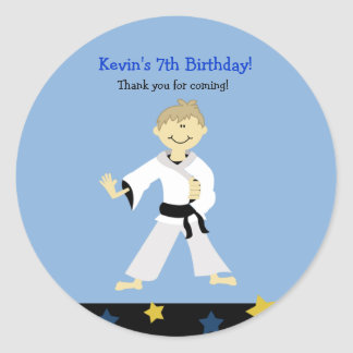 KARATE BOY Black Belt Birthday Favor Sticker