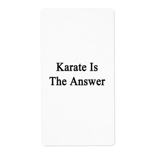 Karate Is The Answer Shipping Labels