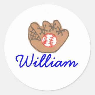 Karate Kat baseball ID--to personalize Classic Round Sticker