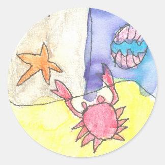 Karate Kat ocean scene Classic Round Sticker